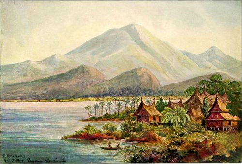 Lukisan Marapi dilihat dari Danau Singkarak